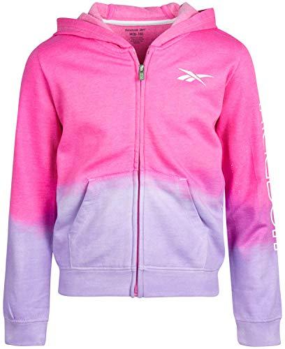 Reebok Girls Zip Up Fleece Sweatshirt Hoodie, Size Small, Shocking Pink/Peri Dip Dye