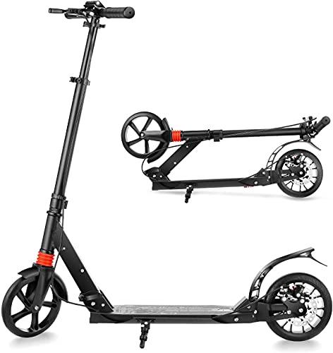 COSMOLINO Tretroller Erwachsene, Kick Scooter, City Roller mit Handbremse, Roller Kinder, Trettroller, Cityroller Bremse, Klappbar, 200mm Rad, 120kg belastbar (Schwarz)