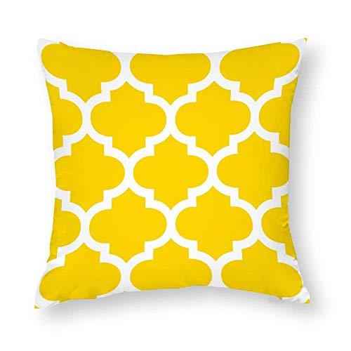 WH-CLA Fundas de almohada de color amarillo marroquí con cremallera de cuatro colores para sofá, funda estampada de 45 x 45 cm, para oficina, decoración del hogar
