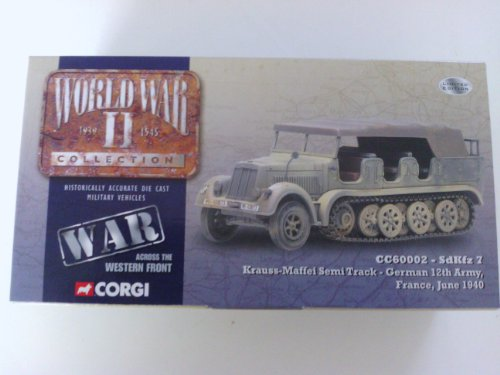 SDKFZ 7 KRAUSS-MAFFEI SEMI-TRUCK GERMAN 12TH ARMY / FRANCE, JUNE 1940 1:50 Scale 2003 Corgi Classics WORLD WAR II ADVERSARIES COLLECTION Die-Cast Vehicle (Limited Edition: 1 of only 6,500 pieces)