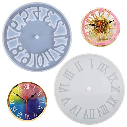 SUNSK Reloj Silicona Molde Resina Epoxi Transparente Molde DIY Hacer Joyas Herramienta Romanos Arábica Números Reloj Bricolaje Manualidades 2 piezas