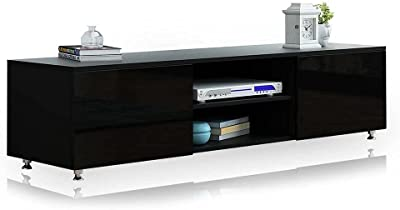 TV Unit Stand Lowline Entertainment Storage Cabinet High Gloss Front Wood Black 160cm