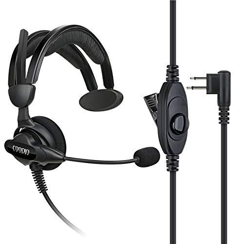 COODIO Motorola Radio Auriculares 2 Pin Micro-Auricular Micrófono [Cancelación de Ruido] Microfono Seguridad y Bodyguard para Motorola CP040, CP140, Hytera, Midland Transceptor