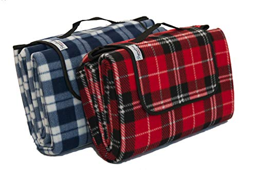 Signature Leisure Red Tartan Check Large 150x180cm Fleece Picnic Blanket with Waterproof Backing and Carry Handle - Lightweight Compact Picnic Travel Rug - Child Play Mat