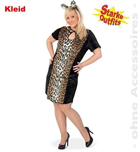 narrenwelt Leopard Lady Leo con peluche 46, 1 pieza, vestido de mujer leopardo, camiseta grande, disfraz de leopardo para mujeres fuertes, tallas grandes