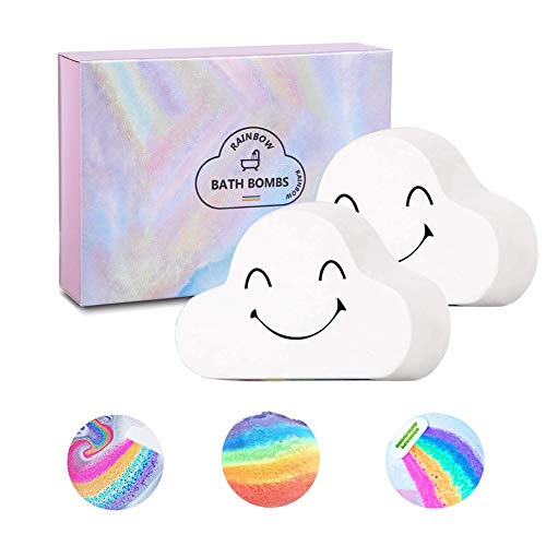 Sagekia Rainbow Bath Bombs (2 Pack), Large Size 6.35oz Organic Bath Bomb Gift Set, Gentle and Kid Safe Bubble Spa to Moisturize Skin, Idea for Her, Girls, Women and Kids