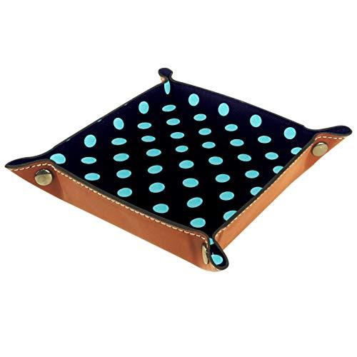 Plateau de rangement en cuir pour femme - Pour bijoux, maquillage - Bleu à pois noirs