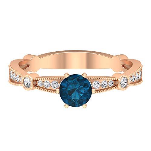 Anillo de topacio azul Londres, piedras preciosas redondas de 0,77 quilates, anillo de solitario de diamante HI-SI de 5 mm, anillo de compromiso de 6 puntas, 14K Oro rosa, Size:EU 58