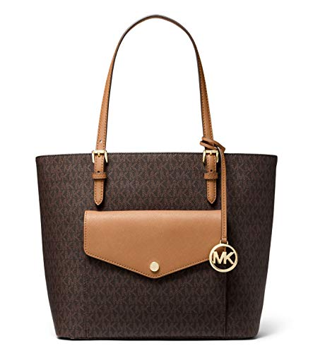 Michael Kors Jet Set Large Multifunction Laptop Logo Pocket Tote - Brown/Acorn, Medium