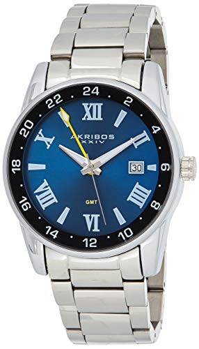 Akribos XXIV Stainless Steel Men's Watch – Silver Tone Link Bracelet Strap, Date and 24 Hour Displays, Crystal Covered Bezel, Blue Dial - Great for Father's Day Gift -AK1055SSBU