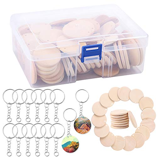 Colgante de discos de madera,100 piezas de madera redondas en blanco y 100 llaveros,pequeños círculos con agujero de madera para manualidades,llaveros,pendientes colgantes y decoración