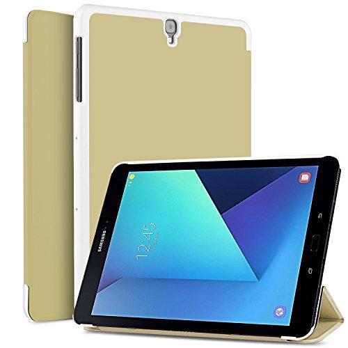 IVSO Funda Carcasa para Samsung Galaxy Tab S3 9.7, Slim PU Protectora Carcasa Cover para Samsung Galaxy Tab S3 9.7 Pulgadas T820/T825 2017, Gold
