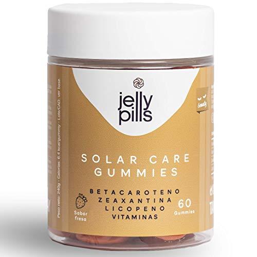 JELLY PILLS | Betacaroteno + Licopeno + Zeaxantina + Cobre + Vitaminas A, C y E | 60 gominolas | Multivitaminas y Minerales Naturales para cuidar y mejorar el color de tu piel