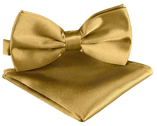 BomGuard Fliege Einstecktuch Set über 30 Farben Fliege Einstecktuch Herrenfliege Fliege mit Einstecktuch Fliege für Herren …, Luxusgold, Einheitsgröße