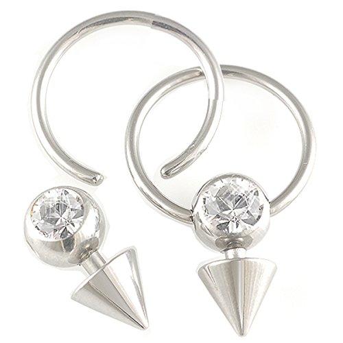 2er set 1,2mm 12mm Lippenbändchen Stahl Klemmring Ohr Piercing Kristall Körperschmuck BCR Ball Closure BGBB