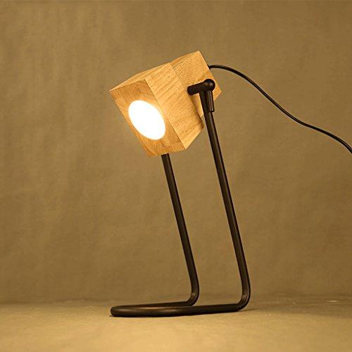 LOFAMI Lampe de fer post-moderne simple, Applique en bois massif, Salle de style industriel Salle de séjour Bar Lampe de décoration de café, e27