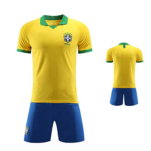 Camisa de Brasil de fútbol, Brasil Selección Nacional de Fútbol Conjunto Uniforme, Copa Mundial de Fútbol de Deporte FFF Shorts + Camiseta Uniforme de Camiseta de fútbol Personalizado,L