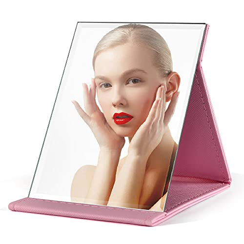 Makeup Mirror Foldable Travel Mirror, PU Portable Adjustable Rectangular Ultra-Thin Mirror, Used for Travel, Camping, Home