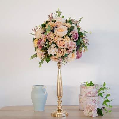 Bureze Künstliche Rosenkugel mit Eisen Kerzenständer DIY Hochzeit Party Dekoration Blume Road zitiert Ball Bühne Requisiten