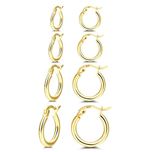 Gold Plated Hoops Earrings for Women, RoseJeopal Small Gold Plated Hoop Earrings, 4 Pairs 925 Sterling Silver Post Gold Hoop Earrings Set for Girls Men Gifts(13/15/20/25mm)