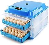 Incubatrice per Uova Automatica, Covatrice Macchina Automatica Tornitura di Uova, Portatile Incubatrice Digitale, per Gallina/Anatra/Quaglia,Blue_128 Eggs