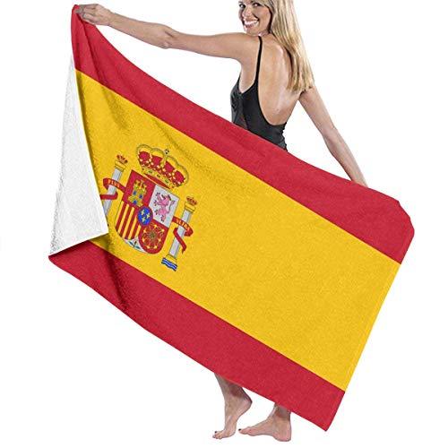 Elsaone Toallas de Playa Bandera de España Toalla de Manta de Playa Grande Toalla de baño Ultra Suave Altamente Absorbente de Gran tamaño 32 x 52 Pulgadas