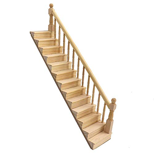 lamta1k Dollhouse Stair,Miniature Dolls House Ornaments,1/12 Wooden Stair Stringer Step Staircase with Handrail Model Doll House Decor - Right