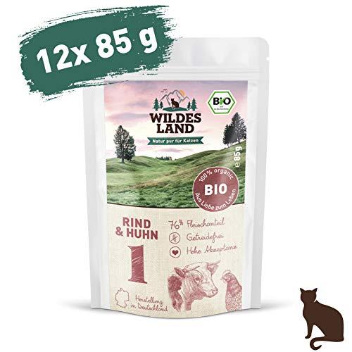 Wildes Land | Nassfutter für Katzen | Nr. 1 Rind & Huhn | Bio | 12 x 85 g | Aus kontrolliertem biologischen Anbau | Getreidefrei | Extra viel Fleisch