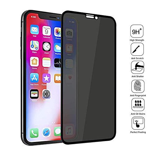Haodong Vidrio Templado de Total privacidad 9H para iPhone X XS MAX XR 6 6S 7 8 Plus 11 Pro MAX Anti Spy Spy Protector de Pantalla de Alta definición (3 Piezas)-para iPhone XR_Vidrio Anti-espía