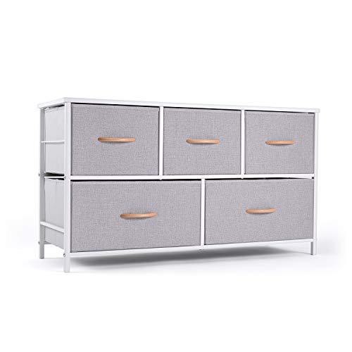 ROMOON Dresser Organizer with 5 Drawers, Fabric Storage Drawer Unit, Dresser Tower for Bedroom, Hallway, Entryway, Closets, Nurseries - Gray