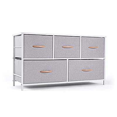 """ROMOON Dresser Organizer with 5 Drawers, Fabric Storage Drawer Unit, Dresser Tower for Bedroom, Hallway, Entryway, Closets, Nurseries - Gray - Multifunction Cabinet: 5 Collapsible fabric drawers include 2 sizes to satisfy your different storage needs, shelving things as you wish on top board. This fabric dresser not only a closet organizer but also a great dressers for bedroom, nurseries, playrooms, entryways and more; Ideal for small spaces such as apartments, condos and dorm rooms. Eco-Friendly Material & Sturdy Structure: Frame--use strong steel, cross support bar and drawer support shelf were added, will not shake under full load; Fabric Bins---Combine MDF board with breathable fabric. Top board---0.6"""" thickness wood boards; Wooden handle for each drawer for smooth opening and closing. Stylish Design: Style meets function with our chest of drawers. Diversify color matching all home decoration style, fashion and simple design help save a lot of space. - dressers-bedroom-furniture, bedroom-furniture, bedroom - 41Y nQjEptL. SS400  -"""