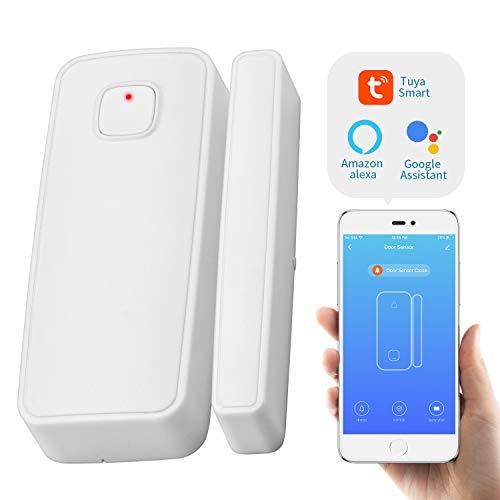 WiFi Türsensor, Kabellos Smart WLAN Türfenstersensor Einbrecher Sicherheit Alarmanlage Fernüberwachung 2.4G Wireless Magnetischer Detektor Öffnung Tür Fenster Alarm System mit Smart Life app