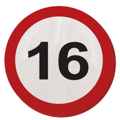 Folat 28316 Party Servietten Verkehrsschild (1 x 20 STK.)-Zahl 16