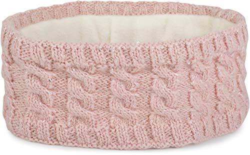 styleBREAKER Damen Strick Stirnband mit Zopfmuster und Pailletten, Fleece Futter, Haarband, Thermo Winter Headband 04026028, Farbe:Rose