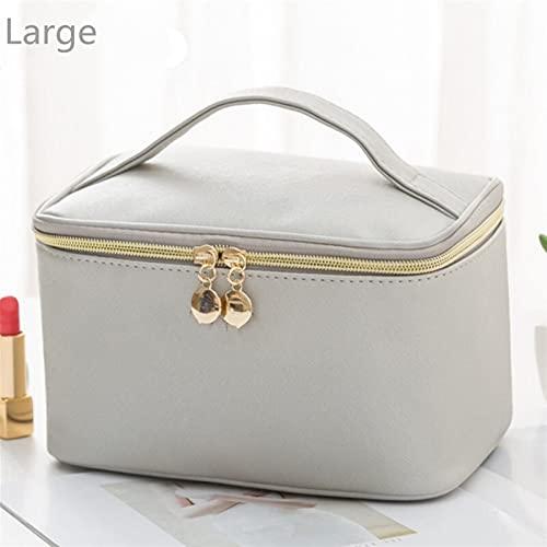 Multifunción 1 PC Mujeres grandes Cosmetic Bag PU Cuero Impermeable Zipper Maquillaje Bolsa Viajes Lavado Maquillaje Organizador Caso de Belleza para niñas estuche cosmético ( Color : L gray )