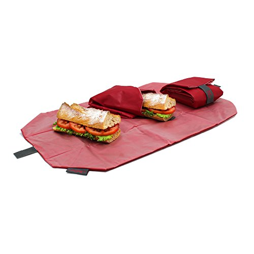 Roll'eat-Boc'n'Roll - Stoffbrotdose | wiederverwendbarer ökologische Sandwichbeutel, BPA frei, verstellbare Sandwichverpackung, waschbar - Farbe Rot-Kariert, 11x15cm(geschlossen)/54x32cm(offen)