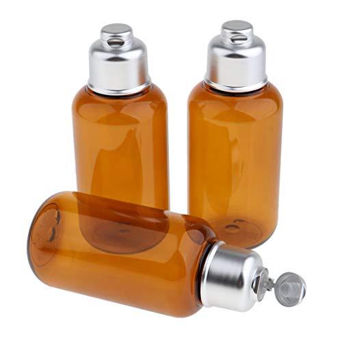 T TOOYFUL 3pcs 100 ml Bouteille de Voyage Vide Plastique avec Couvercle Stockage Shampooing, Lotion pour voyages - #1 3pcs ambre