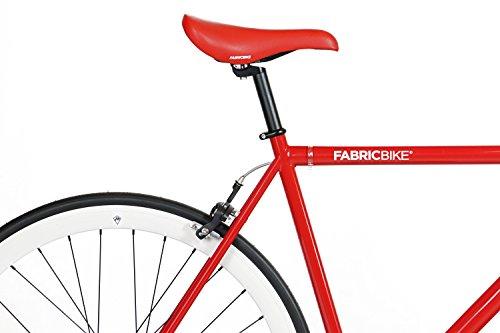 FabricBike-Fixie Bike, Single Speed Fahrrad, Fixed Gear, red Hi-Ten Steel Frame, 10kg (Red & White, M-53) - 4