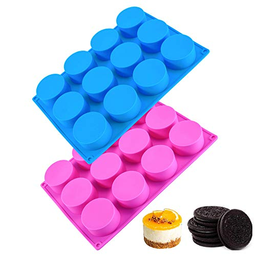 DIFENLUN Round Chocolate Cookie Molds, 2 Pack 12-Cavity Cylinder Silicone Mold Non-Stick Baking Molds for Chocolate Covered Oreos, Cake, Candy, Pudding, Mini Soap