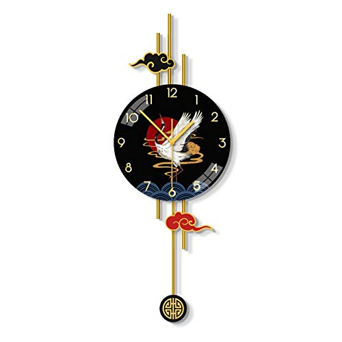 Smmile Chinese Elements Clock Wall Clock Living Room Home Fashion Light Luxury Clock Mute Restaurant Creative Personality Decorative Wall Watch