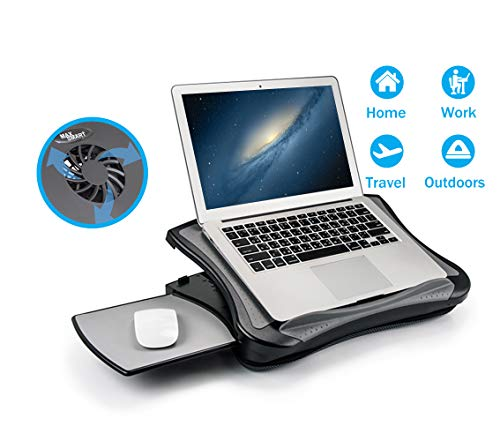 MAX SMART Laptop Lap Pad Laptop Stand with Attached Mouse Pad, Cushion and USB Cooling Fan, Non-Slip Heat Shield Tablet Computer Stand for Sturdy Work Station for Home, Office, Bed Sofa, Couch and Car