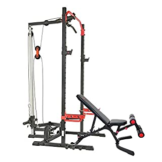 Sunny Health & Fitness Power Zone Squat Stand Rack Power Cage with Lat Pull Down Attachment and Weight Bench (B08M97JWSW) | Amazon price tracker / tracking, Amazon price history charts, Amazon price watches, Amazon price drop alerts