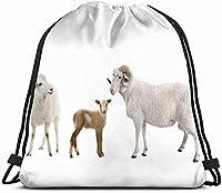 白い動物の赤ちゃん羊男性野生動物巾着バックパック女の子のためのジムダンスバッグキッズバッグショルダートラベルバッグ娘のための誕生日プレゼント子供女性