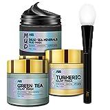 ANAI RUI Turmeric Clay Mask - Green Tea Detox Clay Mask - Dead Sea Minerals Mud Mask, Spa Facial Mask Set, 2.5 oz each