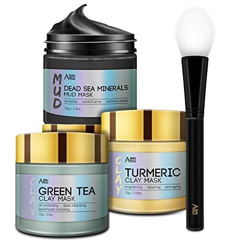 ANAiRUi Turmeric Clay Mask - Green Tea Detox Clay Mask - Dead Sea Minerals Mud Mask, Spa Facial Mask Set, 2.5 oz each