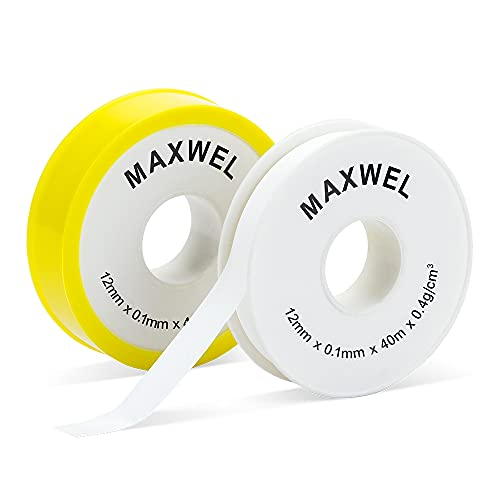 PTFE Tape Plumbers Thread Seal - 0.47 in 1575 in 2 Rolls Industrial Plumbing Gas Line Leakproof Sealant PTFE Tape for Professional Pipe Plumbing Fittings Hose Thread Sealing