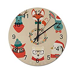 wendana pillow covers Christmas Cute Forest Animals Heads Logo Set Wood Wall Clocks Decorative Wall Art Wooden Clock Silent Modern for Living Room,Kitchen,Bedrooms,Office,12 Inches