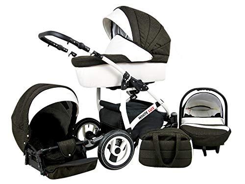Kinderwagen 3 in1 2in1 Isofix Komplettset mit Autositz alles in einem Biancino by ChillyKids Choclate 4in1 Autositz...