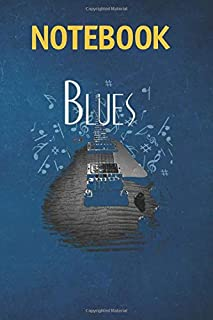 Notebook, Composition, Journal: Blues Music Guitar 6 in x 9 in x 100 Lined and Blank Pages for Notes, To Do Lists, Journal...