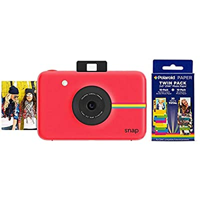 Polaroid Snap Instant Digital Camera (Red) w/ 20 Twin Pack Zink 2x3 Photo Paper